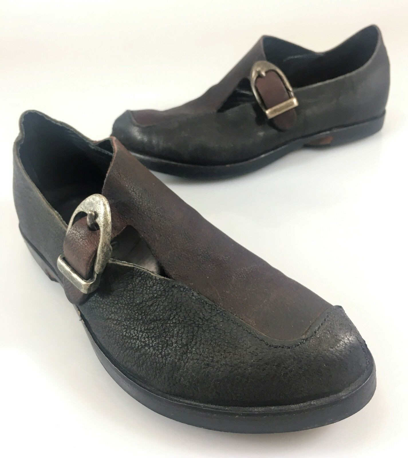 Cydwoq Womens 35EU 5US Black Burgundy Leather Loafers shoes Handmade in USA