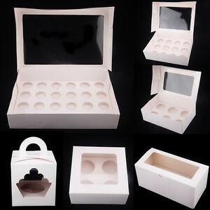 Paper-Cupcake-Box-Range-1-2-4-6-12-24-Holes-Window-Party-Wedding-Baby-Shower-AU