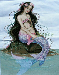 """New Completed finished cross stitch""""MERMAID<wbr/>-MOTHERS LOVE""""home decor gift sale"""