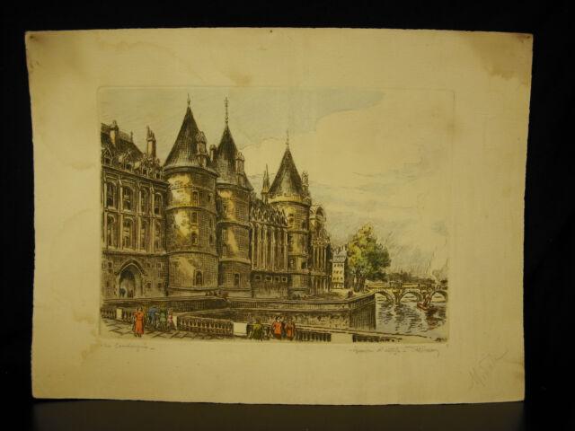 La Conciergerie, palais de la Cité épreuve d'artiste signée par Marcel Bessan