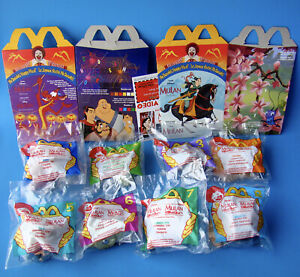 McDonald-039-s-Disney-039-s-Mulan-Video-1999-Complete-MIP-Set-of-8-2-Happy-Meal-Boxes