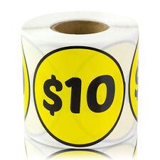10 Dollars Stickers Garage Sale Retail Flea Market Price Labels 2 Round 4pk