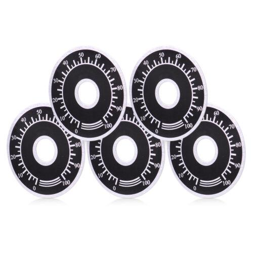5pcs Rheostat Variable Transformer Potentiometer 0-100 Control Dial Face Plate