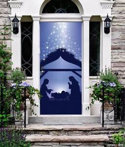 Jesus Christmas Decorations.Details About Nativity Silhouette Front Door Cover Jesus Christmas Entry Door Decor On139