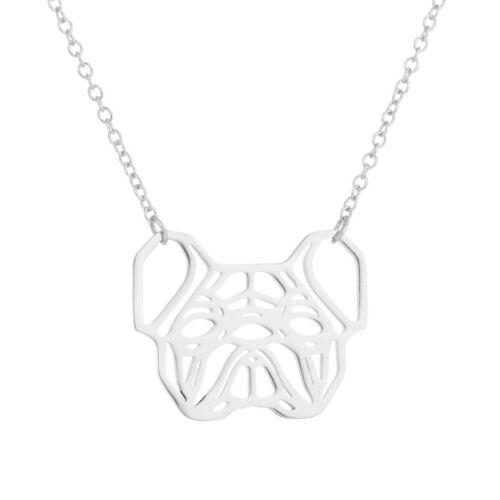 oro y plata plateado French Bull Dog Origami geométrica 18K oro rosa