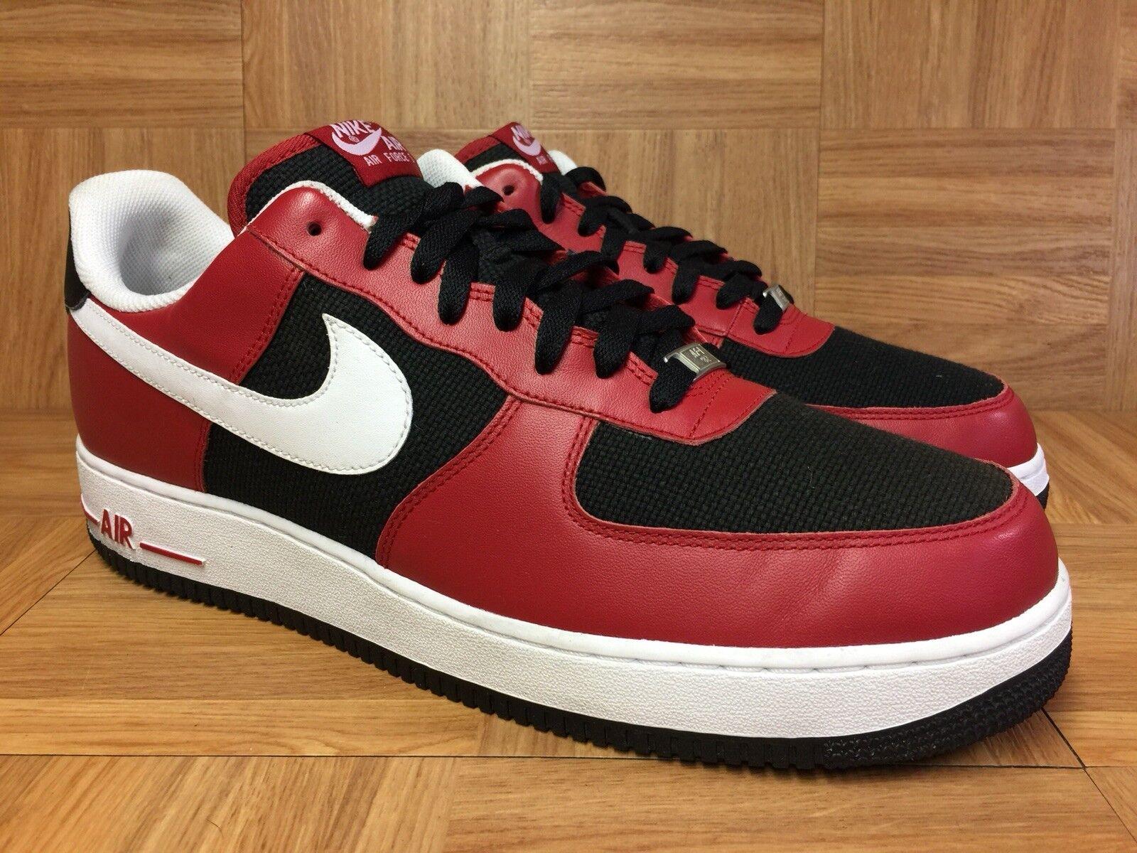 RARE Nike Air Force 1 Varsity Red Black Hemp White Bulls Sz 14 315122-600