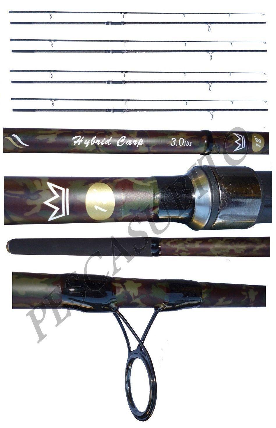 Kit 4 canne mimetiche pesca carpfishing carp fishing 12 piedi 3Lb pesca carpa