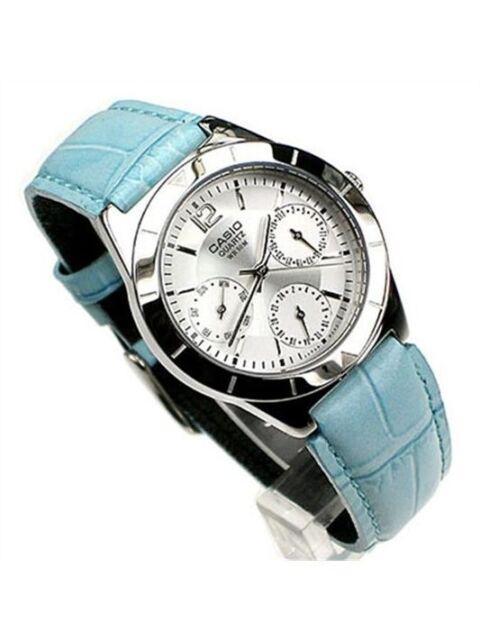 Casio Watch Women's Day Date Blue Leather White Dial Analog Quartz LTP-2069L-7A2