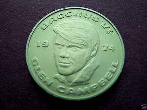glen campbell KREWE BACCHUS CELEBRITY DOUBLOONS 1974 mardi gras rare alum RIP