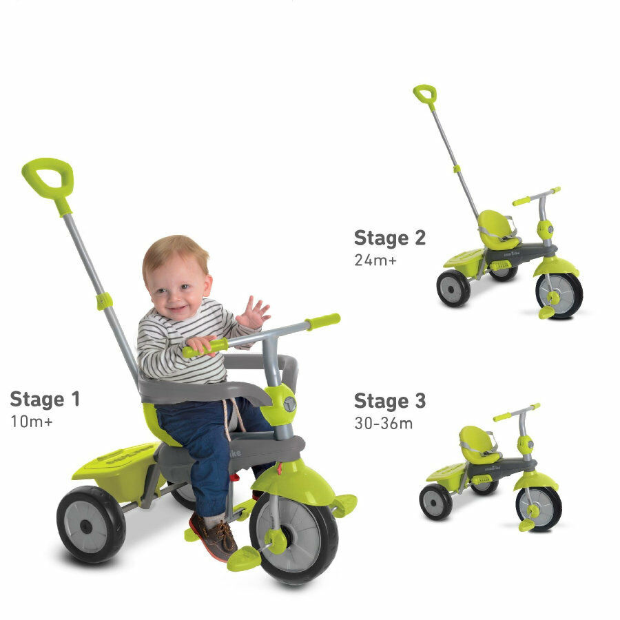 SmarTrike Breeze grün grau 3in1 Mädchen Jungen Dreirad Schubstange Fahrrad