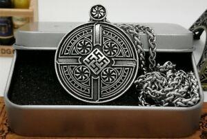 Anhaenger-Schwarze-Sonne-incl-Kette-Kette-Odin-Mjolnir-Thor-Amulet-Nordic-V5
