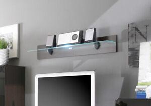 Details zu Wandregal 120cm wenge Regal LED Beleuchtung Wohnzimmer Modern  Ablage 54112