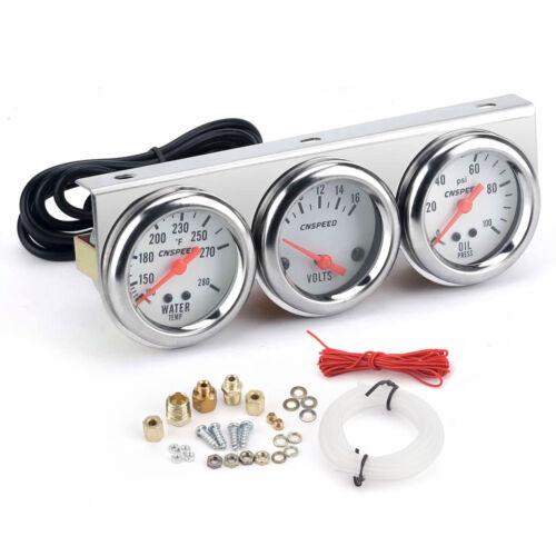 Universal 2/'/' 52mm Chrome Volt Water Oil Pressure Triple 3 Gauge Set Gauges Kit
