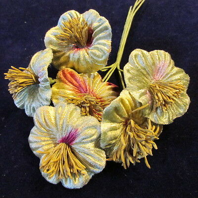 "Millinery Flower Velvet 2"" Shaded Green w/Hint of Purple 6pc Lot Y85"