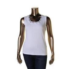 Karen Scott 6861 Womens White Knit Studded Sleeveless Tank Top Shirt XL BHFO