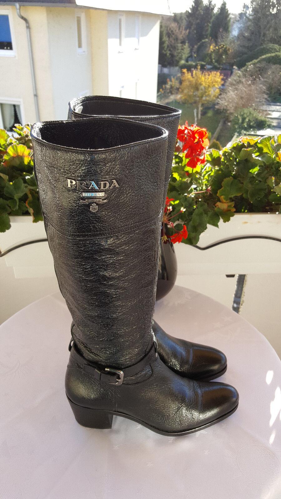 Schwarze in echtleder Stiefel von PRADA in Schwarze Größe 36, Schwarz a7d7ea
