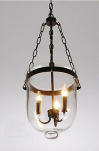 Glass Lantern Pendant Pottery Barn Style Chandelier Candle Dining