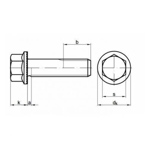 mit Sperr-Rippen 10x Sechskant-Flanschschrauben M 12 x 30 10.9 blank