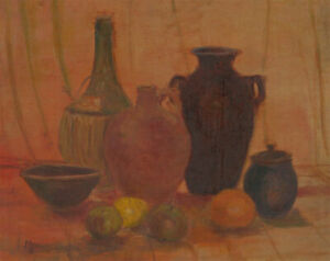 M-Parsons-20th-Century-Oil-Still-Life-with-Fruit-and-Jars