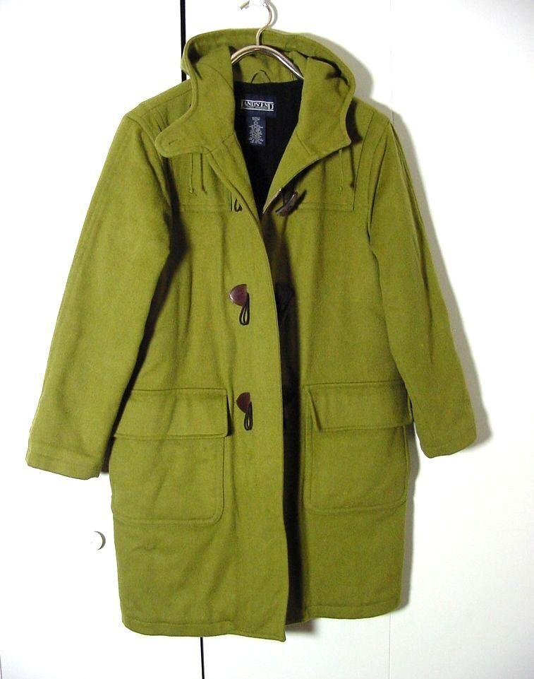 Vtg Lands End Troler Loden Wool Hooded Forest Green Toggle Zip Coat Sz M 10-12