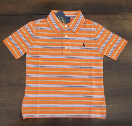 NWT Ralph Lauren Boy/'s S//S Blue Striped Cotton Jersey Polo Shirt Sz 5 NEW $35