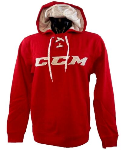CCM Hockey Red//White Adult//Senior Hoody Pullover Sweatshirt