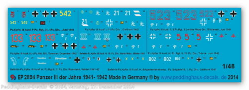 Peddinghaus 2894 1//48 Beschriftungen für Panzer III  No 2 1941-42