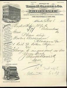 1885 Thos M Clarke Co Hardware Gins & Plows Letterhead ~ Atlanta GA
