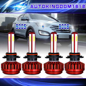 9005 9006 Combo 4 Side LED Headlight Bulb High + Low Beam Combo Kits 1960W total