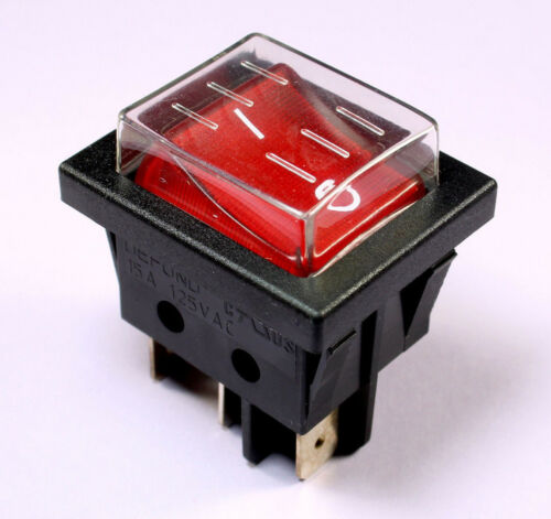 1pc Defond SPST Lighted Rocker Switch 15A 125VAC 108394-01 On//Off with Cover