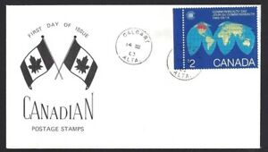 Canada-977-Map-Of-The-Earth-Special-Event-Cachet-New-1983-Unaddressed