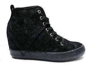 Guess FLJIL3SAT12 scarpe casual da donna in tessuto Nero zeppa interna alt. cm.7