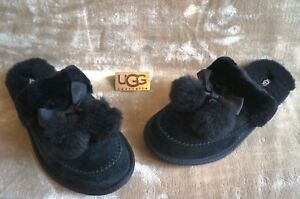 c676eb2d015 Details about UGG HAFNIR SUEDE POM POM SCUFFS SLIPPERS, US 6 Womens, Color:  BLACK, 1017544