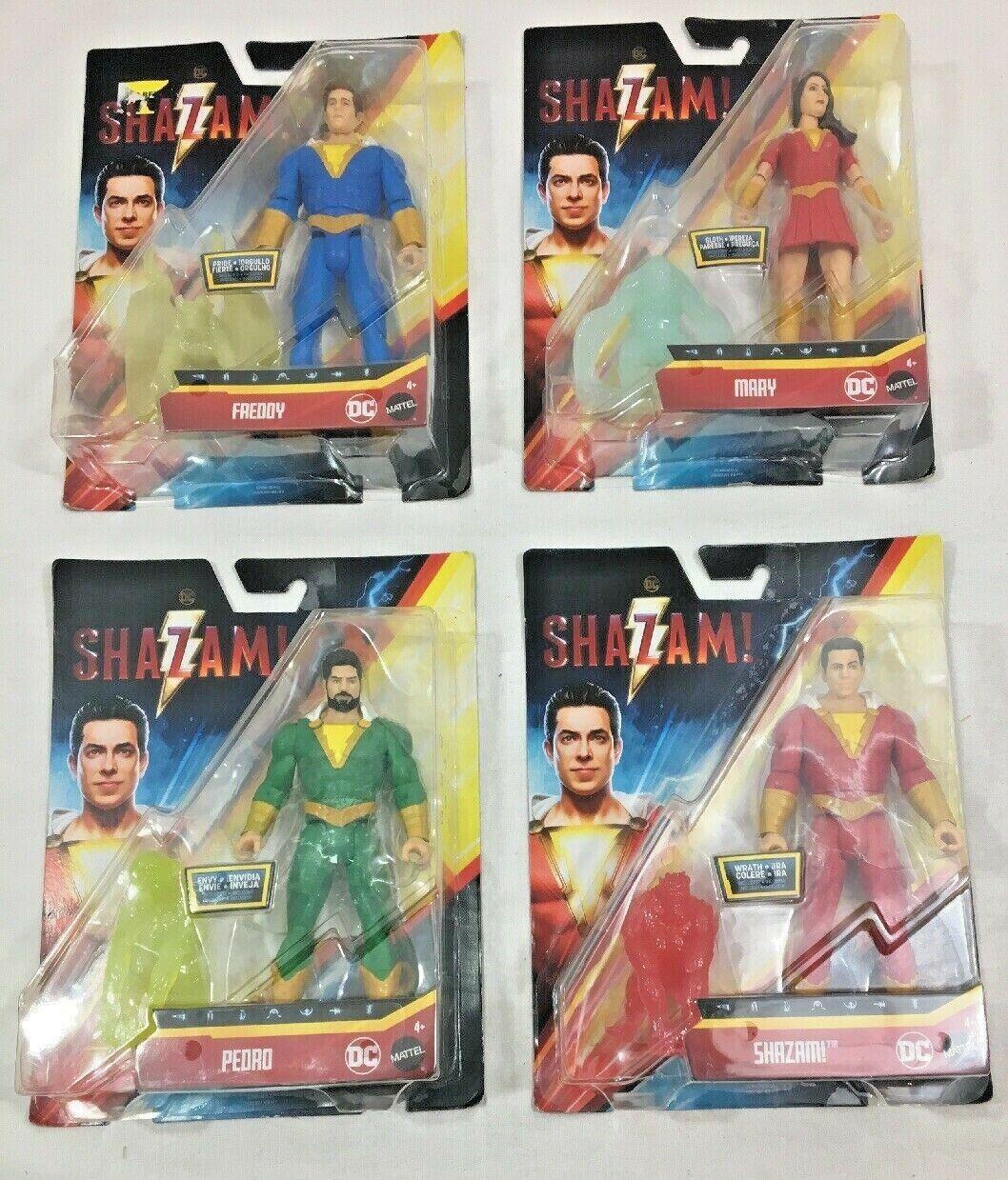 ny Lot of 4 Mattel DC Shazam Pedro, Mary och Fröddy Figures