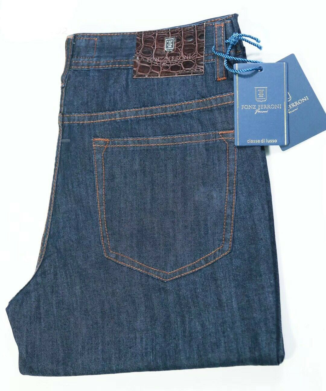 Fonz Ferroni Jeans bluee Cotton Brown Accents Leather Patch Mdl JFS-ON902 Size 33
