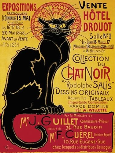 Chat Noir Black Cat Hotel Druout French Advert Sign