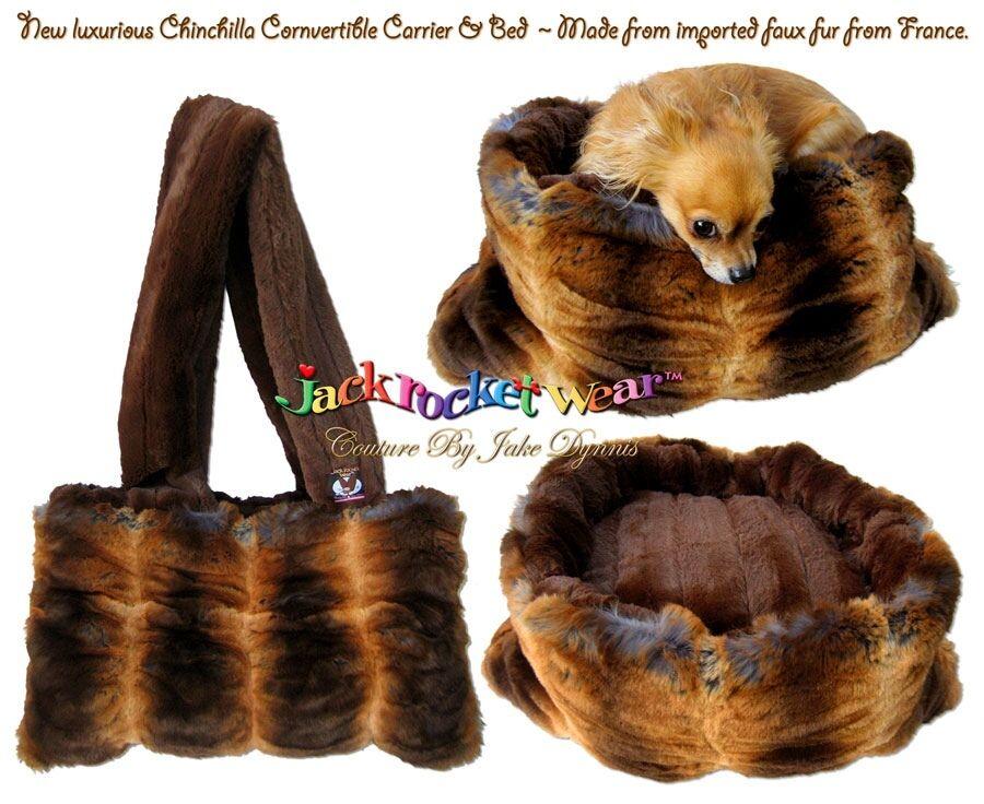 NWT  299 299 299 LUXURY JACKROCKETWEAR FAUX CHINCHILLA DOG CARRIER BED CONGrünIBLE BAG c33e37