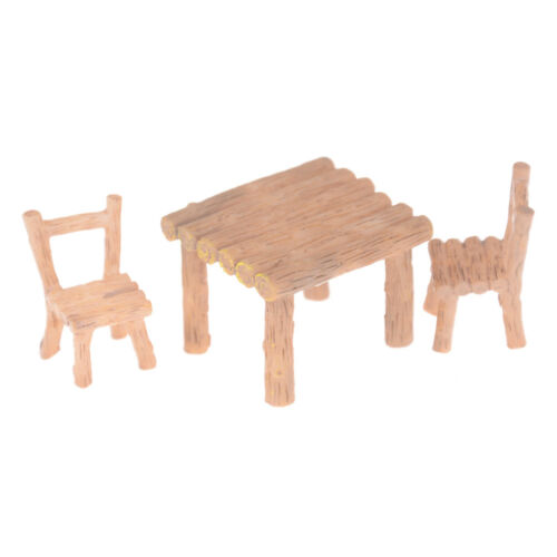 3Pcs//Set Wooden Table Chairs Dollhouse Miniatures Doll AccessoriesTO