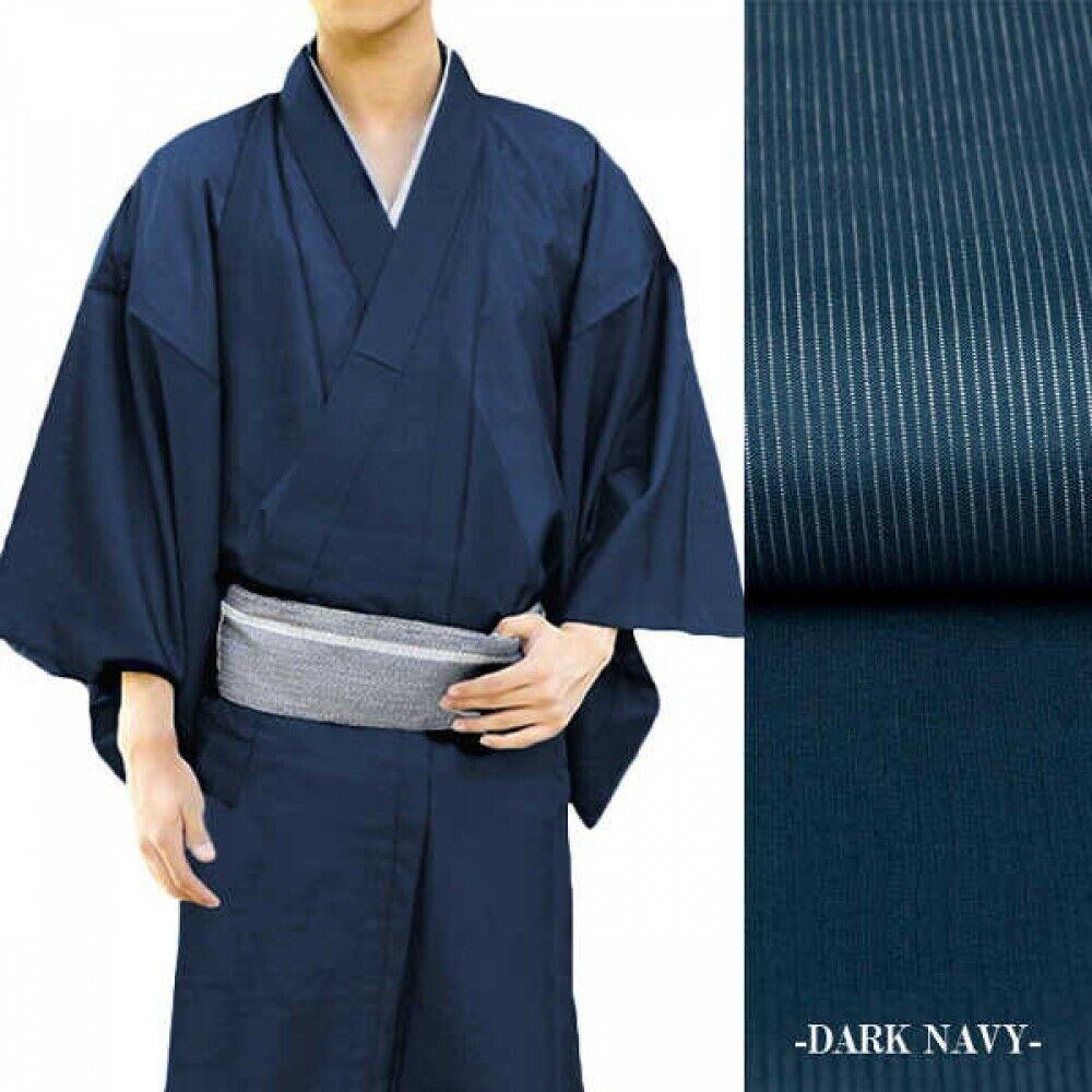 Japanese Men's Summer Kimono Thin Fabric Without Obi Dark Navy Japan Tracking