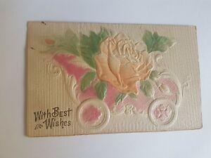 Greeting-Postcard-Vintage-Pink-Roses-Best-Wish