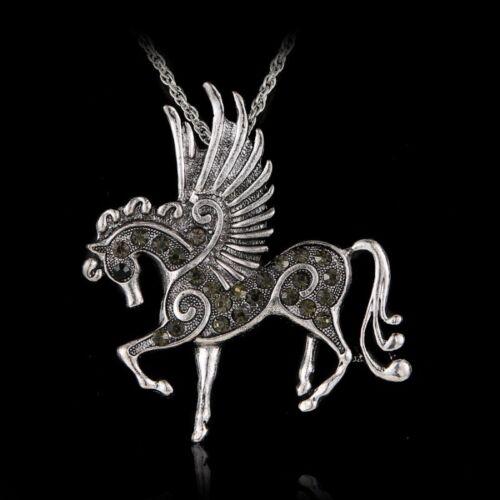 Fashion RUN cheval strass cristal argent Sweater Chaîne Collier Pendentif Cadeau