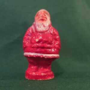 Antique-Paper-Mache-Santa-Red-Suit-Candy-Container-3-5-Inches-tall