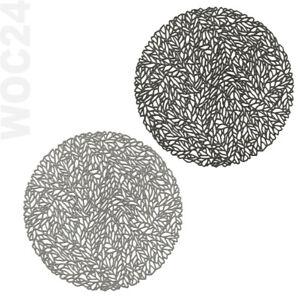 4x-Tischset-Platzdeckchen-Platzset-rund-abwaschbar-GRAU-ANTHRAZIT-Kunststoff