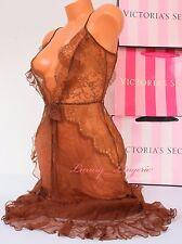 $328 NWT VICTORIA'S SECRET Lingerie Designer 100% Silk Midi Babydoll L Brown VS