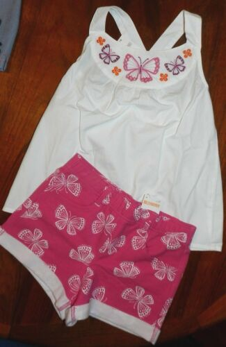 Shorts Set 2pc Gymboree Pink White Butterflies Girl size 7 New