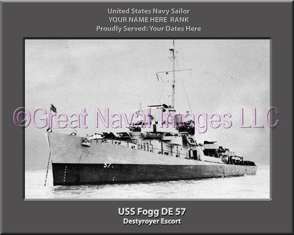 USS Fogg DE 57 Personalized Canvas Ship Photo Print Navy Veteran Gift