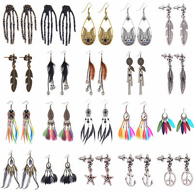 Vintage Bohemia Boho Crystals Feather Dangle/Hook Stud Women Halloween Earrings