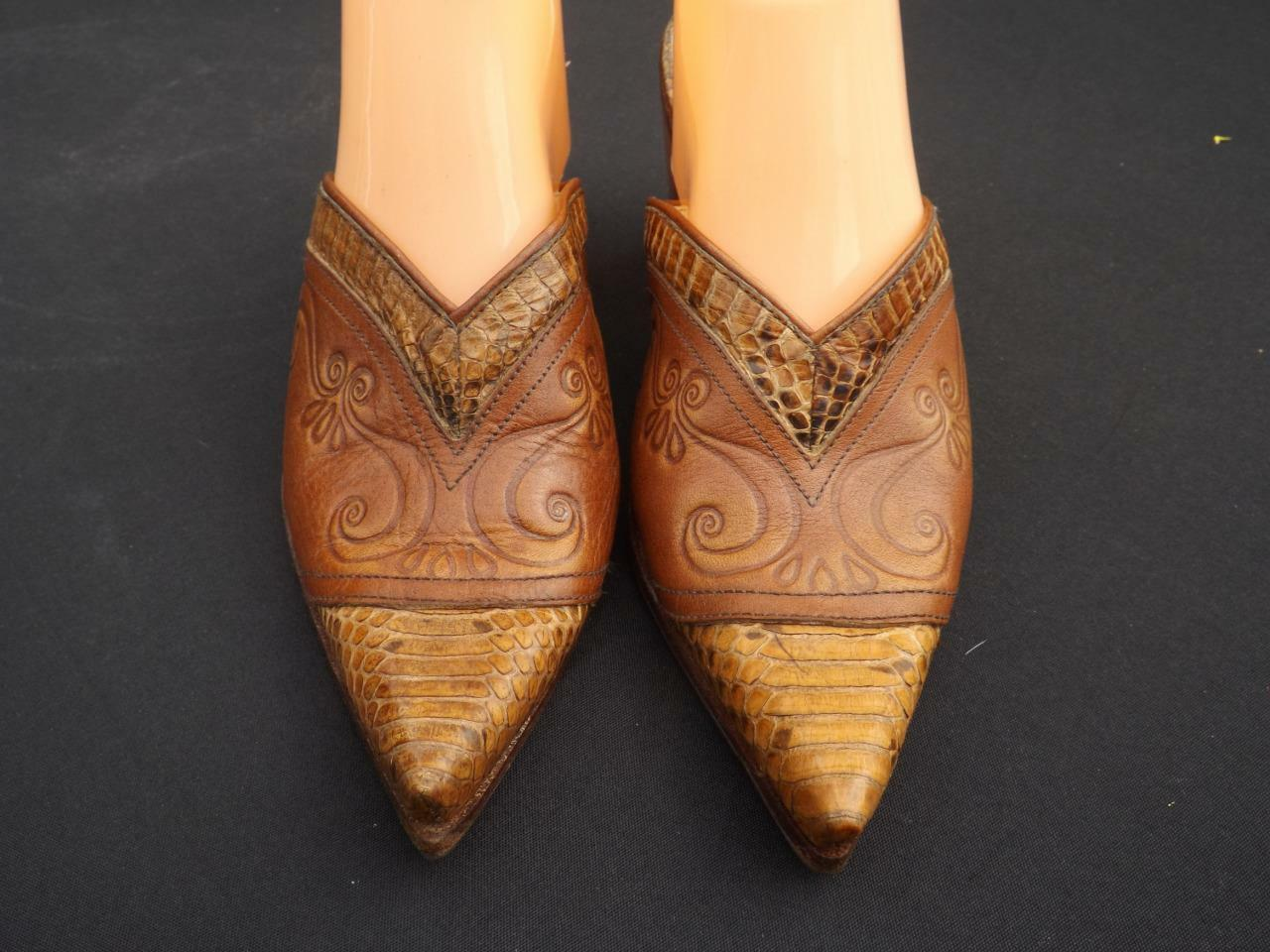Salpy Montana Western Snake Trim Brown shoes Mules Clogs Slides Sz 8 Pointed Toe