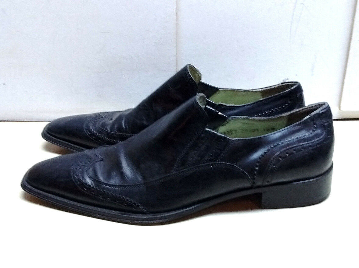 Kenneth Cole New York Italian 10M Black Leather Loafer Wingtip Dress shoes Men's