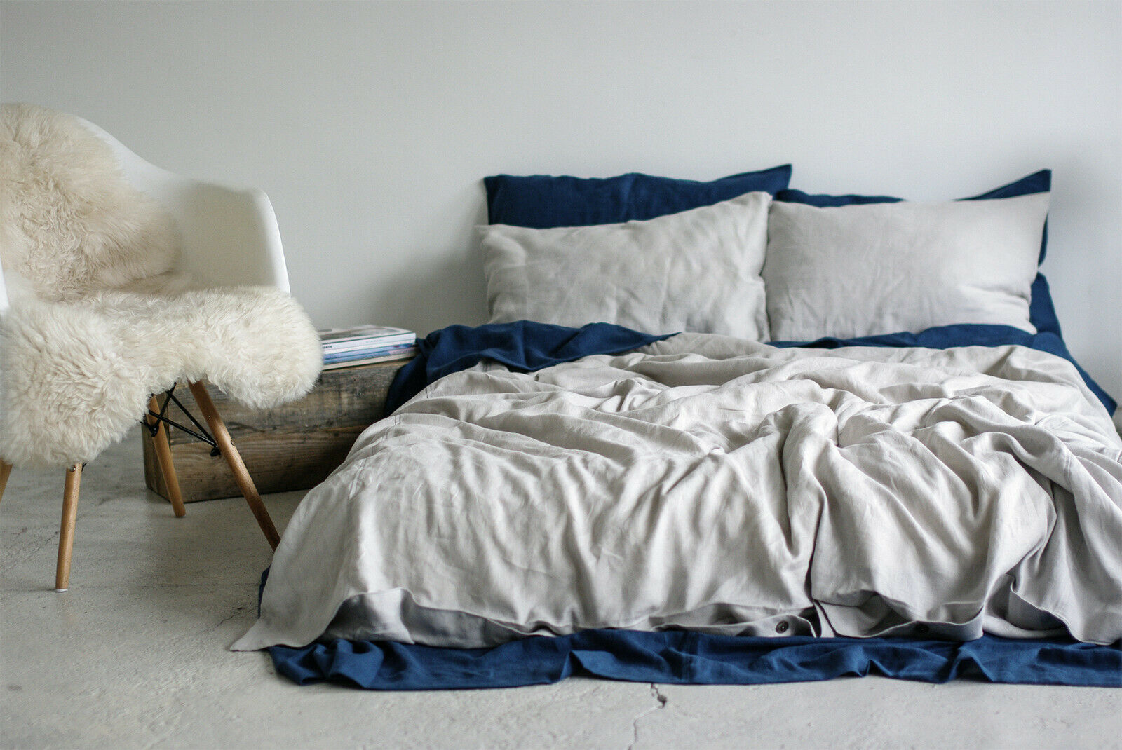 Coconut Milk Stonewashed Linen Bed Set